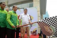 Menteri Energi dan Sumber Daya Mineral (ESDM) Ignasius Jonan me-launching Road Test Penggunaan Bahan Bakar B30pada kendaraan bermesin diesel di Jakarta, Kamis (13/6).