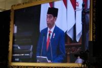 Presiden Republik Indonesia  Joko Widodo (Jokowi) saat berpidato dalam acara Sidang Tahunan MPR, Jumat (16/08) di Jakarta.