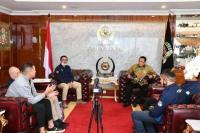 Ketua MPR Bambang Soesatyo menerima pengurus Ikatan Motor Indonesia (IMI) Pusat, di Ruang Kerja Ketua MPR RI, Jakarta, Senin (13/7/20).