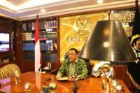 Ketua MPR Bambang Soesatyo mengisi kuliah umum dalam rangka menyambut mahasiswa baru Universitas Gunadarma, secara virtual dari Ruang kerja Ketua MPR RI, Jakarta, Kamis (17/9/20). (Foto: MPR)
