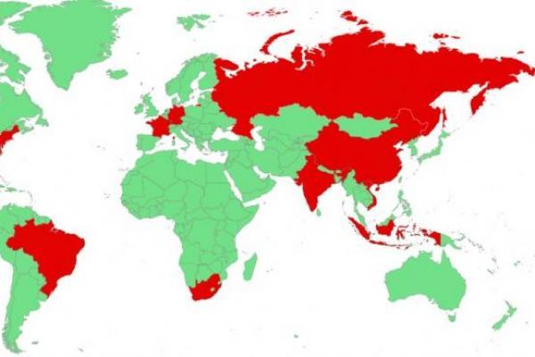Distribusi geografis perusahaan dan individu di berbagai wilayah yang diserang oleh REvil ransomware pada tahun 2020