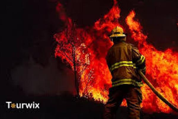 Petugas damkar sedang berusaha memadamkan api di salah satu lokasi kebakaran hutan Turki (foto: tourwix.de)