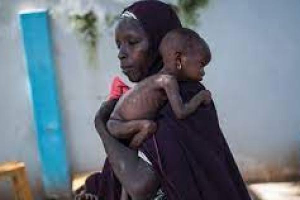 Ibu menggendong bayinya  yang kekurangan gizi di fasilitas kesehatan di Maiduguri,  Nigeria (foto: AFP/ theguardian.com)