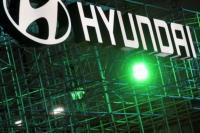Logo Hyundai terlihat selama Munich Auto Show, IAA Mobility 2021 di Munich, Jerman, 8 September 2021. Foto: CNA