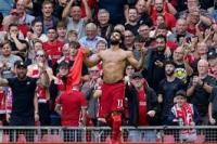 Selebrasi bintang Liverpool, Mohamed Salah usai membobol gawang Crystal Palace, Sabtu (18/9/2021)(foto:  AP/ bola.net)